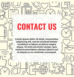 contact us line icons set vector image