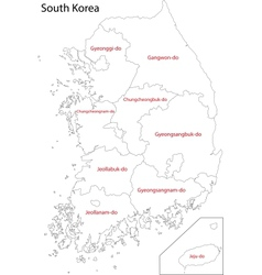 Contour South Korea map vector