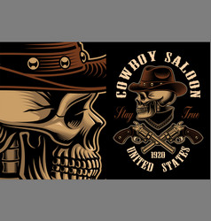Cowboy skull with crossed handguns vector