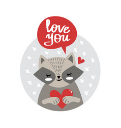 cute cartoon raccoon holding heart vector image