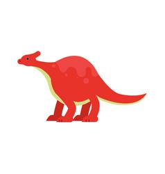 cute cartoon red dinosaur prehistoric and vector image