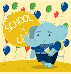 cute little elephant in school uniform drinking vector image