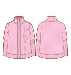 Cute pink quilted jacket with zipper closure vector