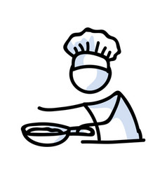 Cute stick figure chef cooking with frying pan vector
