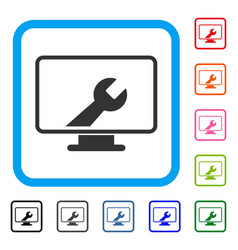 Desktop options framed icon vector