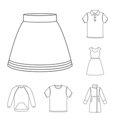 Different kinds of clothes outline icons in set vector