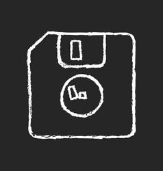 diskette chalk white icon on dark background vector image