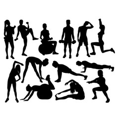 Elegant women silhouettes doing fitness exercise vector