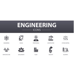Engineering simple concept icons set contains vector