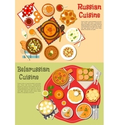 Everyday meals russian and belarusian cuisine vector