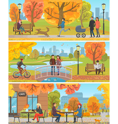 Family and friends autumn outdoor activity poster vector