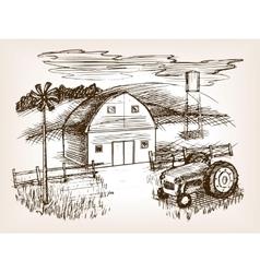 Farm landscape sketch vector