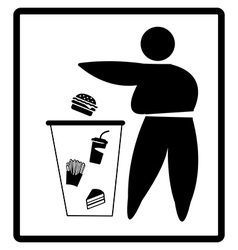 fat person drops junk food on the bin diet concept vector image