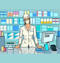 Female pharmacist during an outbreak vector
