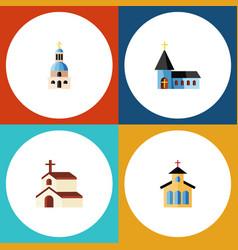 Flat icon christian set of christian catholic vector