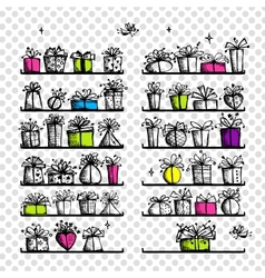 Gift boxes on shelves sketch drawing for your vector image