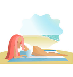 girl reading book on the sea beach vector image
