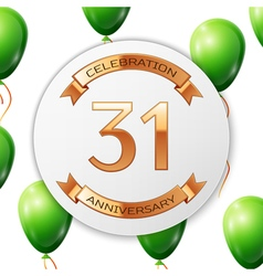 Golden number thirty one years anniversary vector image