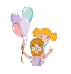 Good father playing with her daughter and balloons vector
