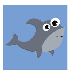 Grey-colored cartoon shark over blue background vector