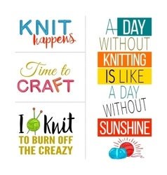 Hand knit quote set vector