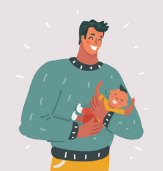 Happy father with little baby vector