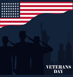 happy veterans day silhouette soldiers saluting vector image