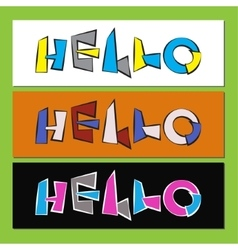 hello - stylized color text vector image