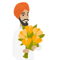 Hindu businessman holding bouquet of flowers vector