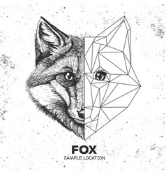 Hipster animal realistic and polygonal fox face vector