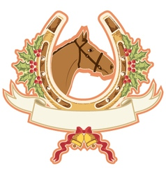 horse and horseshoe christmas isolated on white vector image