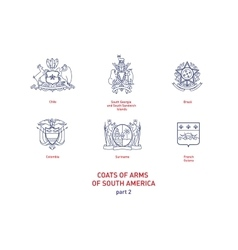Images of coats arms South America vector