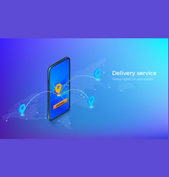 interface delivery service isometric banner vector image