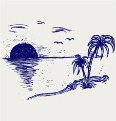 Island palm vector image