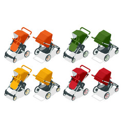 isometric set baby strollers isolated on white vector image