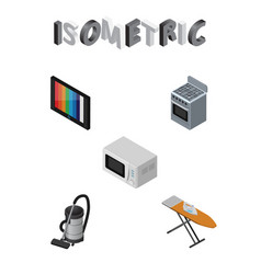 isometric technology set of cloth iron microwave vector image