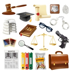 Law Justice Objects And Symbols Collection vector