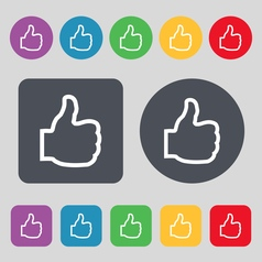 Like icon sign A set of 12 colored buttons Flat vector image