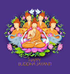 Lord buddha in meditation for buddhist festival of vector