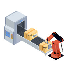 Machine packing products in boxes for shipment vector