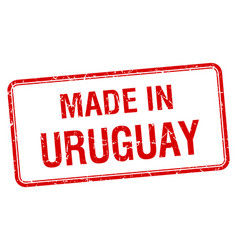 Made in uruguay red square isolated stamp vector
