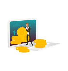 Man businessman bitcoins and giant laptop vector