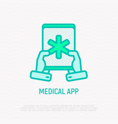 medical app on tablet in hands thin line icon vector image