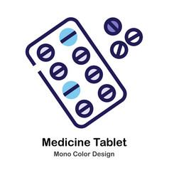 Medicine tablet mono color icon vector