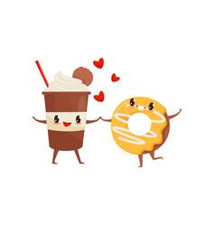 Milkshake and glazed donut are friends forever vector