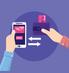 money transfer from wallet into cellphone in vector image