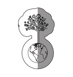 monochrome sticker of world with tree with icons vector image