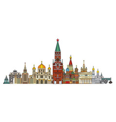 moscow colorful line art 8 vector image