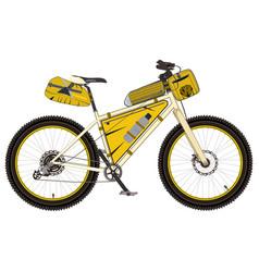 mountain bike with bikepacking gear flat vector image