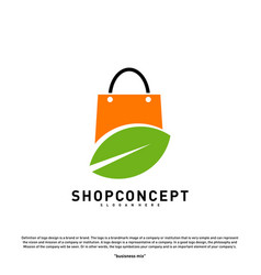 nature shop logo design concept shopping center vector image